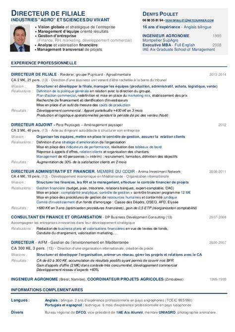 cadre administratif et commercial d entreprise modele cv directeur general