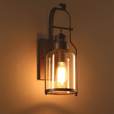 industrial loft rust metal lantern single wall sconce  clear glass indoor sconces wall