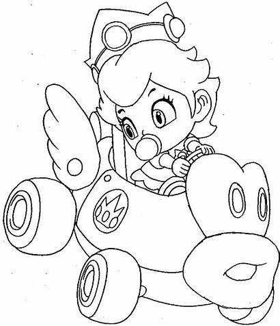 Mario Kart Coloring Peach Pages Princess Wii
