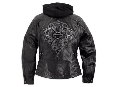 Harley Davidson Women Alexis Black Leather Jacket Tribal
