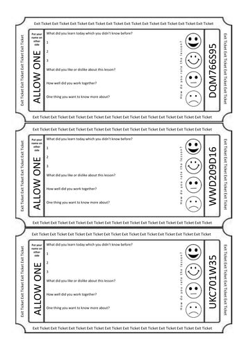 exit ticket plenary activity assessment feedback golden