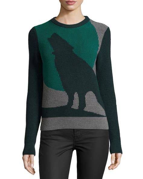 wolf sweater risto green moon wolf sweater in green lyst