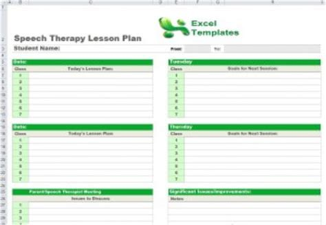 Speech Therapy Lesson Plan Template Image Collections Template