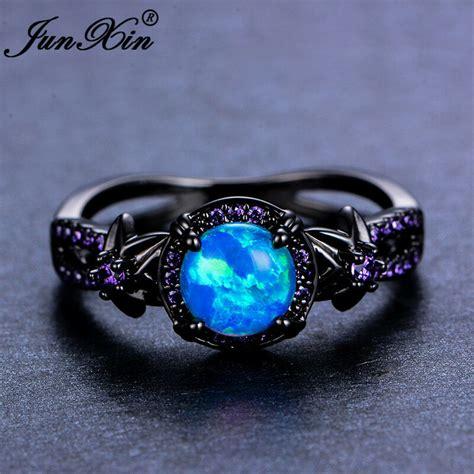 Opel Ring by Blue Opal Flower Amethyst Ring Black Gold