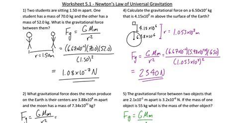 universal gravitation worksheet homeschooldressage