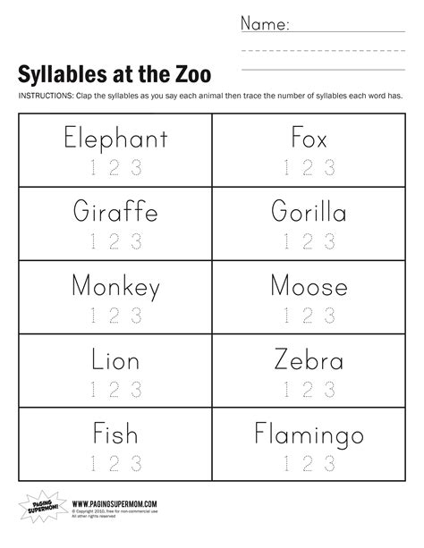 syllables at the zoo worksheet paging supermom school
