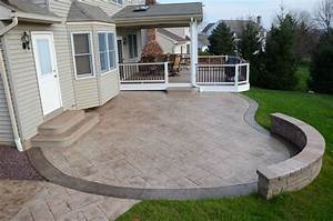 Stamped concrete patio floor design pattern with 10 for Concrete patio ideas for backyard