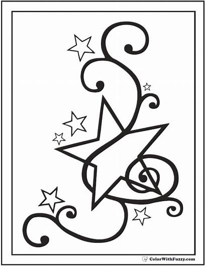 Coloring Star Pages Fancy Musical Stars Printable