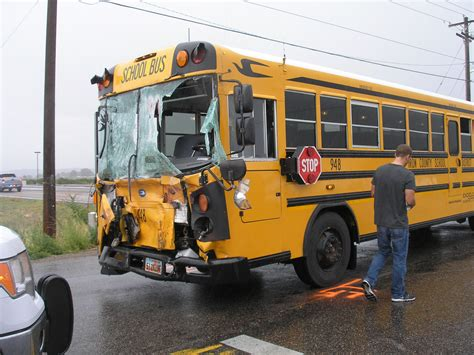 School Bus Crashes Into Service Truck; 1 Taken To Hospital