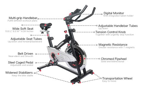 Joroto Belt Drive Indoor Cycling Bike With Magnetic ...