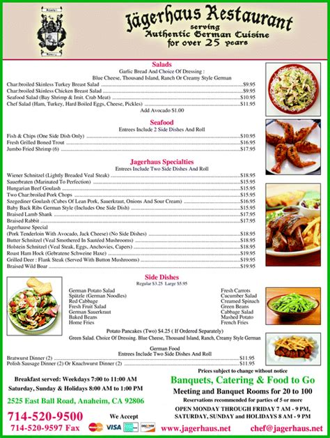 german cuisine menu jagerhaus german restaurant anaheim ca 92806 5053