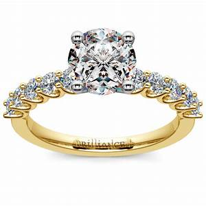 u prong diamond engagement ring in yellow gold With uranium wedding ring