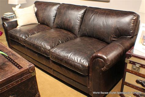 Distressed Leather Couches by 91 Quot Sofa Top Grain Distressed Vintage Leather