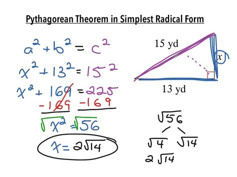 pythagorean theorem in simplest radical form math algebra pythagorean theorem showme