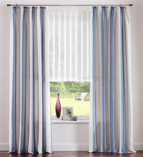 vorhänge blau grau 2 st vorhang gardine 140 x 245 blau grau wei 223 streifen taft store schal neu ebay