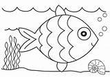 Fish Coloring Cartoon Educative sketch template