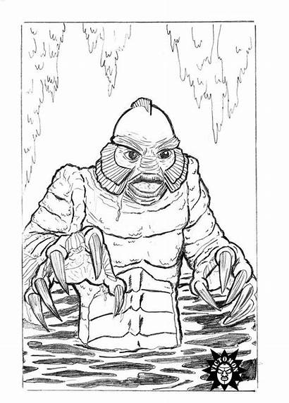 Lagoon Creature Coloring Pages Drawings Deviantart Bl
