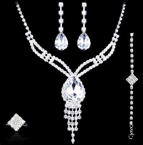 Wedding Jewelry Sets Earrings Necklace Rings Bracelet