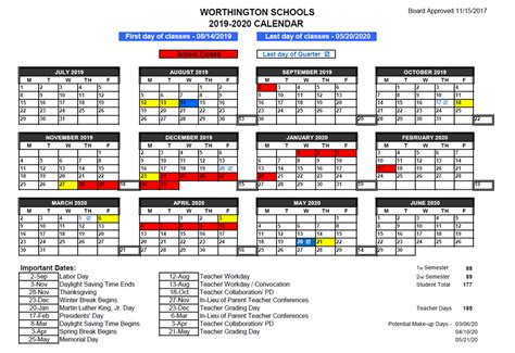 worthington school calendar approved board education