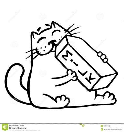 cartoon cat  drinking milk isolated vector illustration