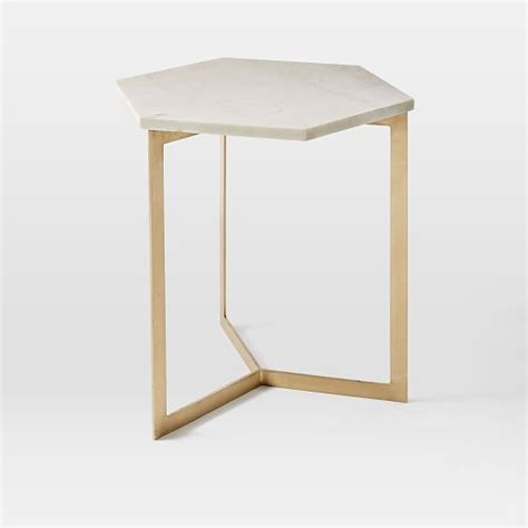 antique brass side table hex side table antique brass west elm