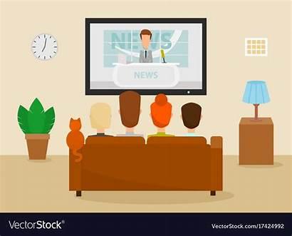 Watching Tv Vector Cat Vectors