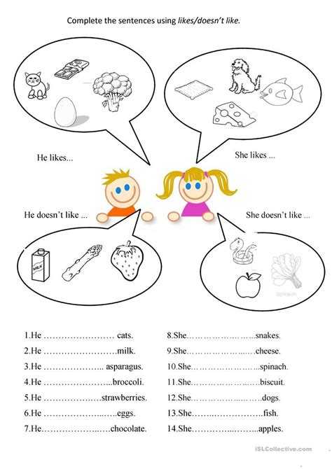 like doesnt like worksheet free esl printable