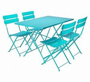 Salon De Jardin Pliant : salon de jardin rectangulaire pliant bleu turquoise mat 4 ~ Dailycaller-alerts.com Idées de Décoration