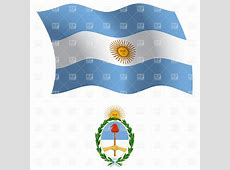Argentina wavy flag and coat of arms Royalty Free Vector