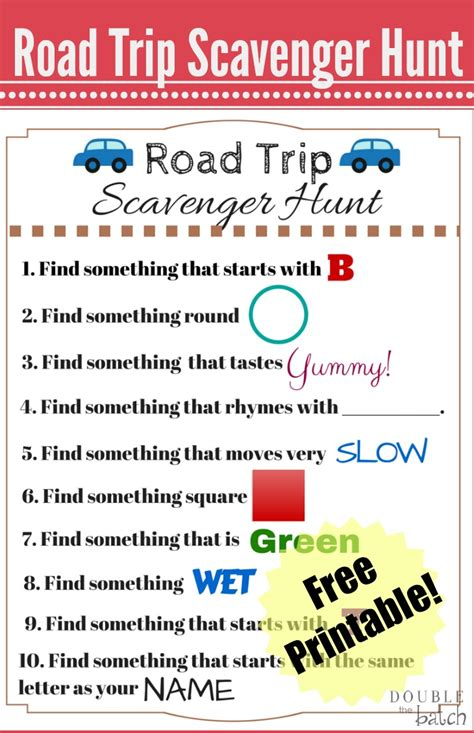 Road Trip Scavenger Hunt  Funny Scavenger Hunt Ideas