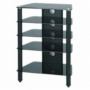 Meuble Hifi But : j005bb meuble hifi support tv verre et aluminium black audiophonics ~ Teatrodelosmanantiales.com Idées de Décoration