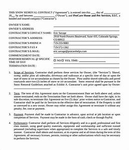 Free 6  Snow Plowing Contract Templates In Pdf