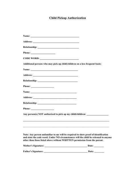 child pickup authorization form  word   formats