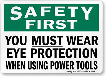 Protection Eye Power Tools Safety Sign Wear