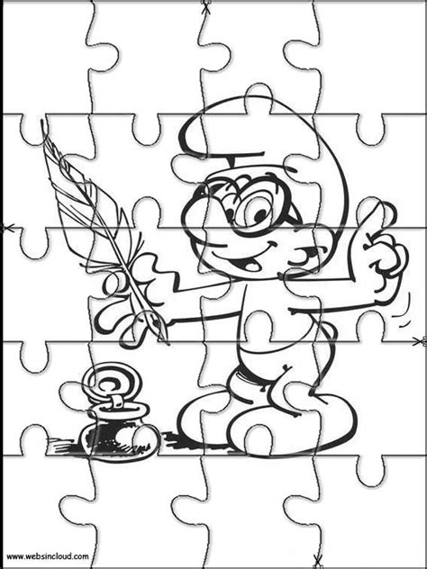 printable jigsaw puzzles  cut   kids smurfs