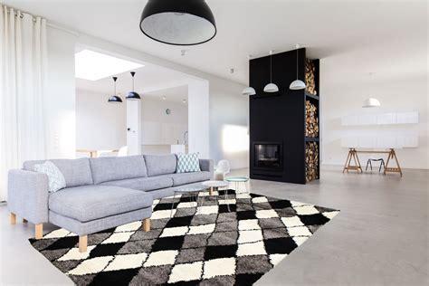 tapis shaggy pour salon scandinave gris volto