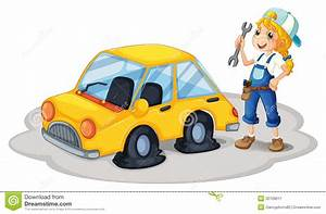 A  Repairing A Yellow Car With Flat Tires Royalty Free Stock Photography  Image 32709617