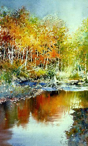 autumn river  watercolor artist nita engle