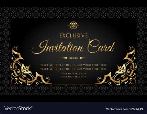 Invitation card luxury black and gold design Vector Image