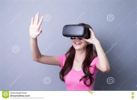 Woman Using Vr Headset Glasses Stock Photo  Image 70547600