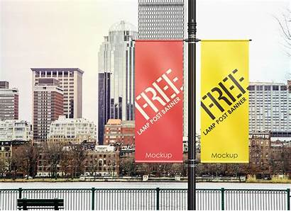 Advertising Outdoor Banner Mockup Lamp Psd Pole