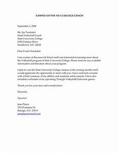 Sample letter to college coaches for recruiting world of for How to write a cover letter for a coaching job