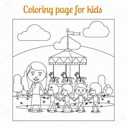 Parc Coloriage Attraction Enfants Depositphotos Ssstocker
