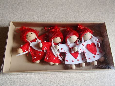 swedish christmas decorations to make scandinavian nordic ornaments 4 in felt dress with hearts 877 ebay