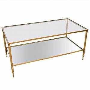 mid century modern french brass and glass two tier coffee With two tier glass coffee table
