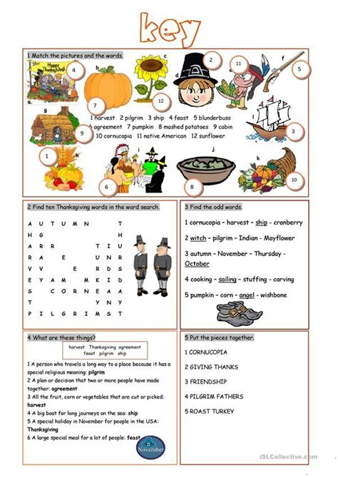 thanksgiving vocabulary exercises  images