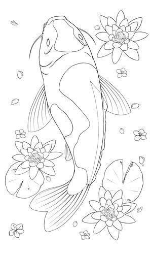 Drawing of koi, lily pads, flowers Japanese dragon