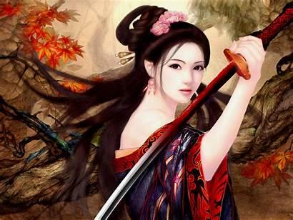 Warrior Fantasy Blood Wallpapers Kimonos Kimono Anime