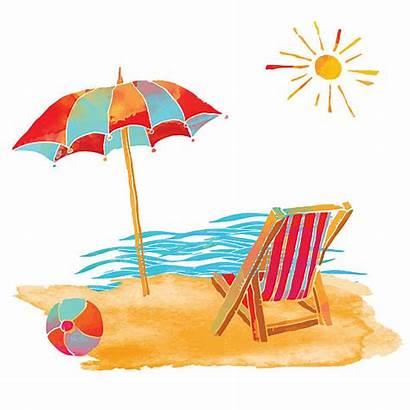 Vector Sunbathing Beach Clip Watercolor Summer Illustrations