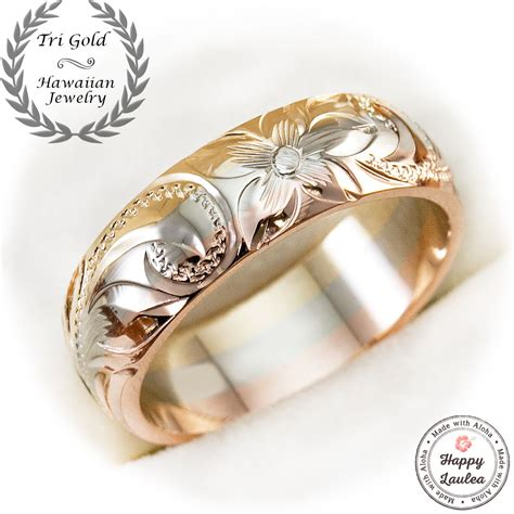 buy a crafted 14k hawaiian jewelry tri color 6mm width ring made to order from happylaulea